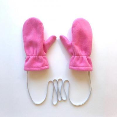 Варежки флисовые с трикотажным подкладом, цвет: розовый