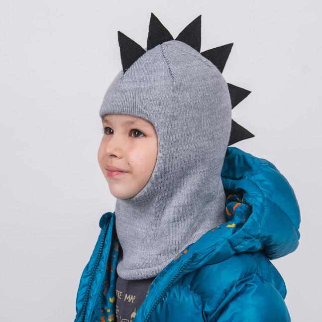 """Шлем """"Дино"""" трёхслойный Серый меланж/Чёрный"""