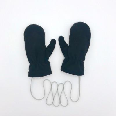 Варежки флисовые с трикотажным подкладом, цвет: черный